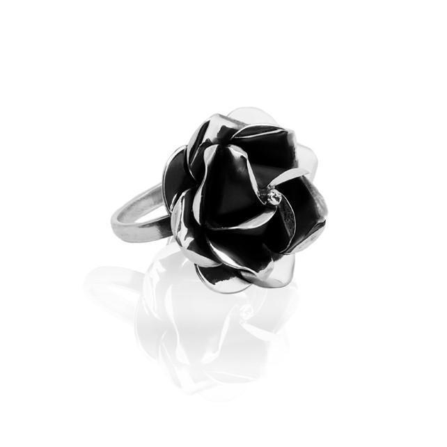 Silver Ring Rosa black
