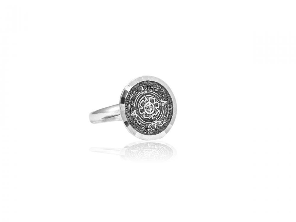 "Silver Ring ""Eternidad"" aztec calendar dark"