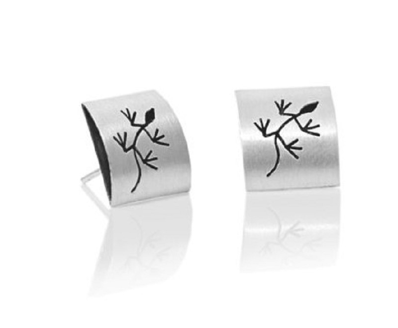 """Silver Stud earrings """"Geco"""""""