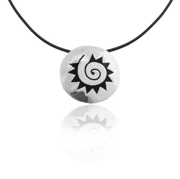 "Silver Pendant ""Sol azteca"" aztec sun"