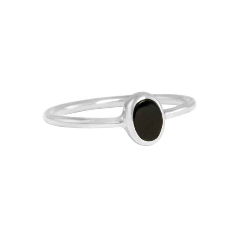 "Ring ""Ovalado Obsidiana"" #6"
