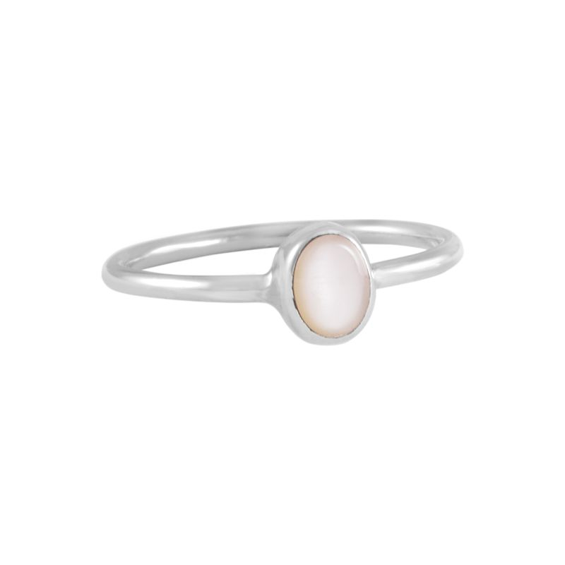 """Silver Ring """"Ovalado Madre Perla Rosa"""" #6 oval pink"""