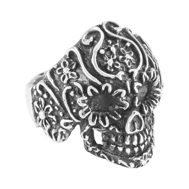 """Ring """"Cráneo flores"""" #11,5"""