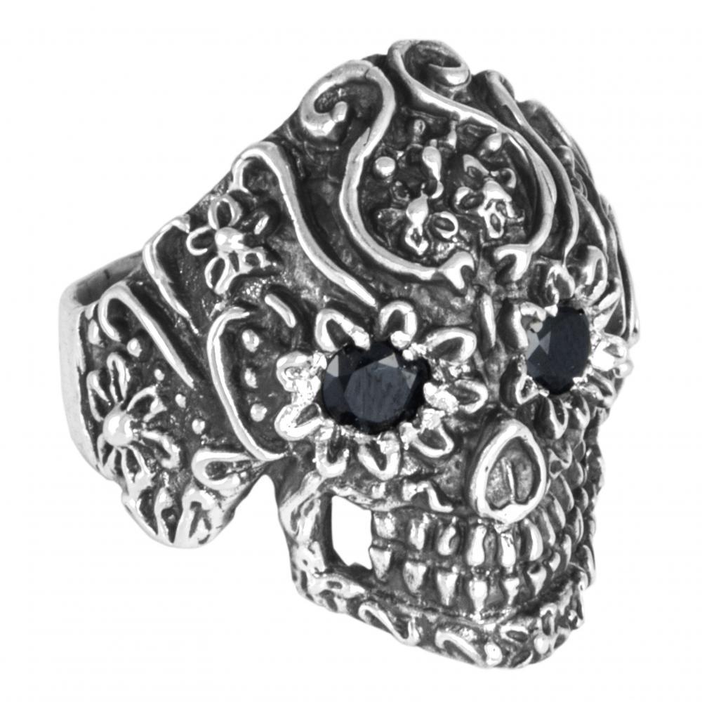 """Ring """"Cráneo flores con cristal"""" #10"""