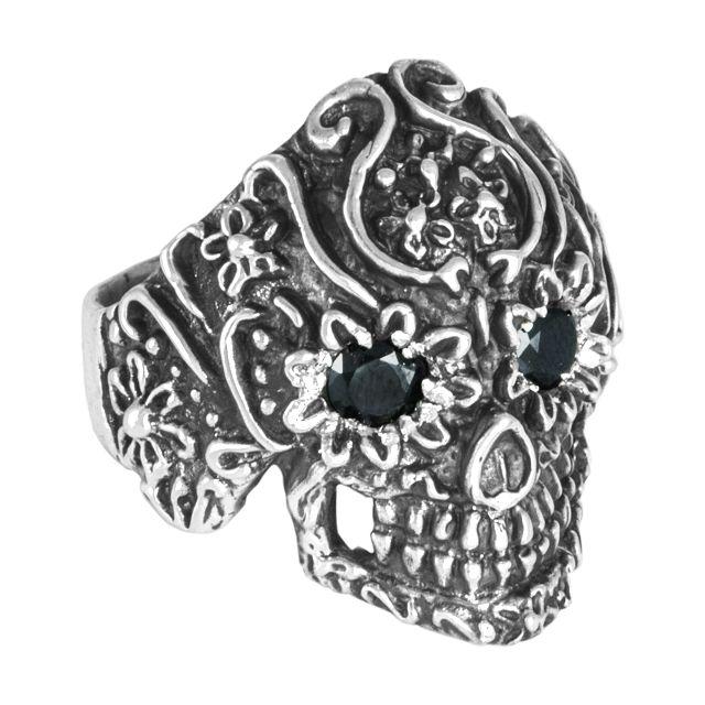 """Ring """"Cráneo flores con cristal"""" #13"""