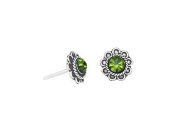 "Ear studs ""Flor oxidada"" green"
