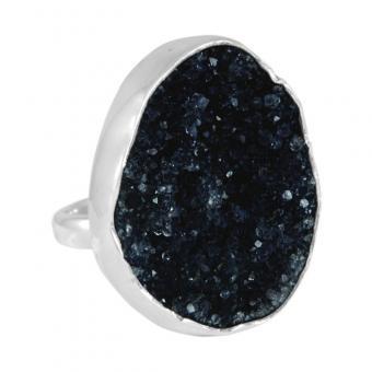 """Ring """"Druzy"""" schwarz"""