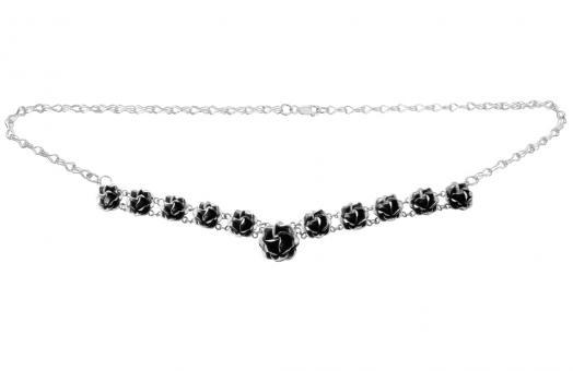 """Necklace """"Sueño de rosas"""" oxidised silver"""